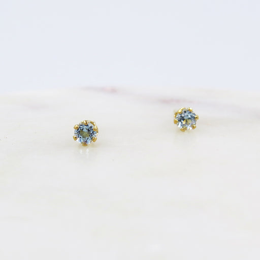 TINY SKY BLUE TOPAZ POST EARRINGS