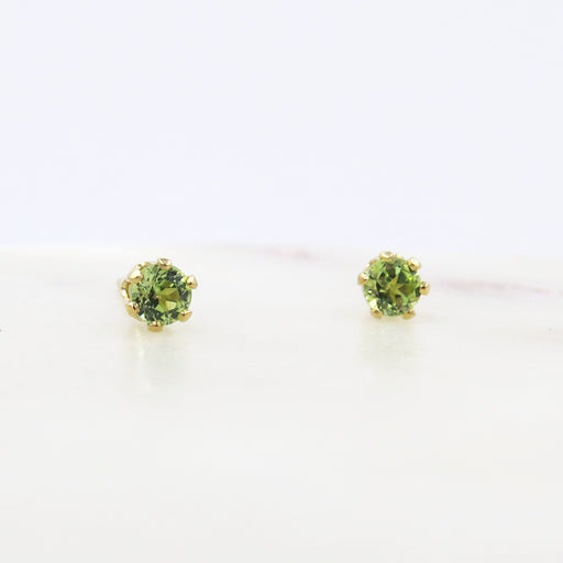 TINY PERIDOT POST EARRINGS