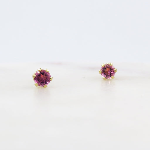 TINY PINK TOURMALINE POST EARRINGS