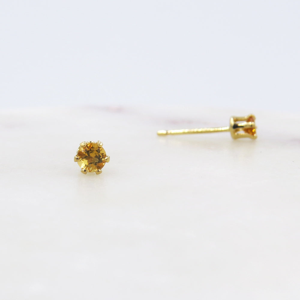 TINY CITRINE POST EARRINGS