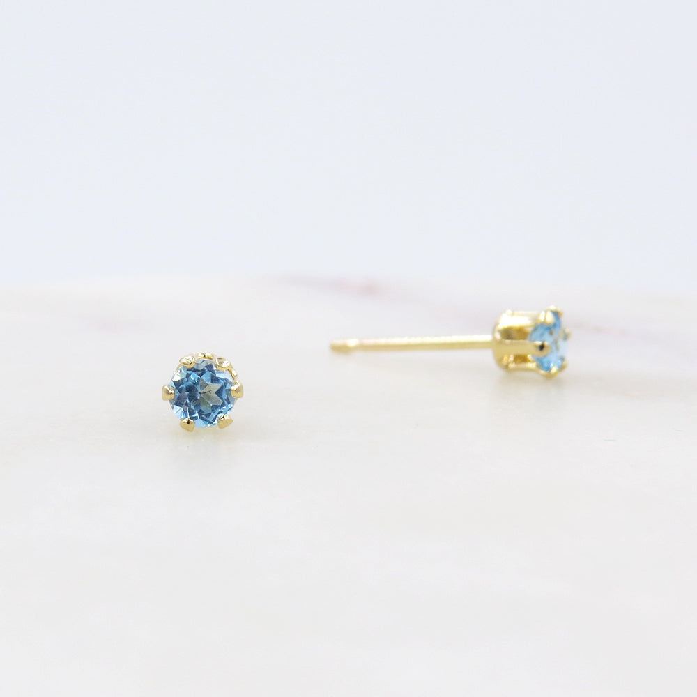 3MM SWISS BLUE TOPAZ POST EARRINGS