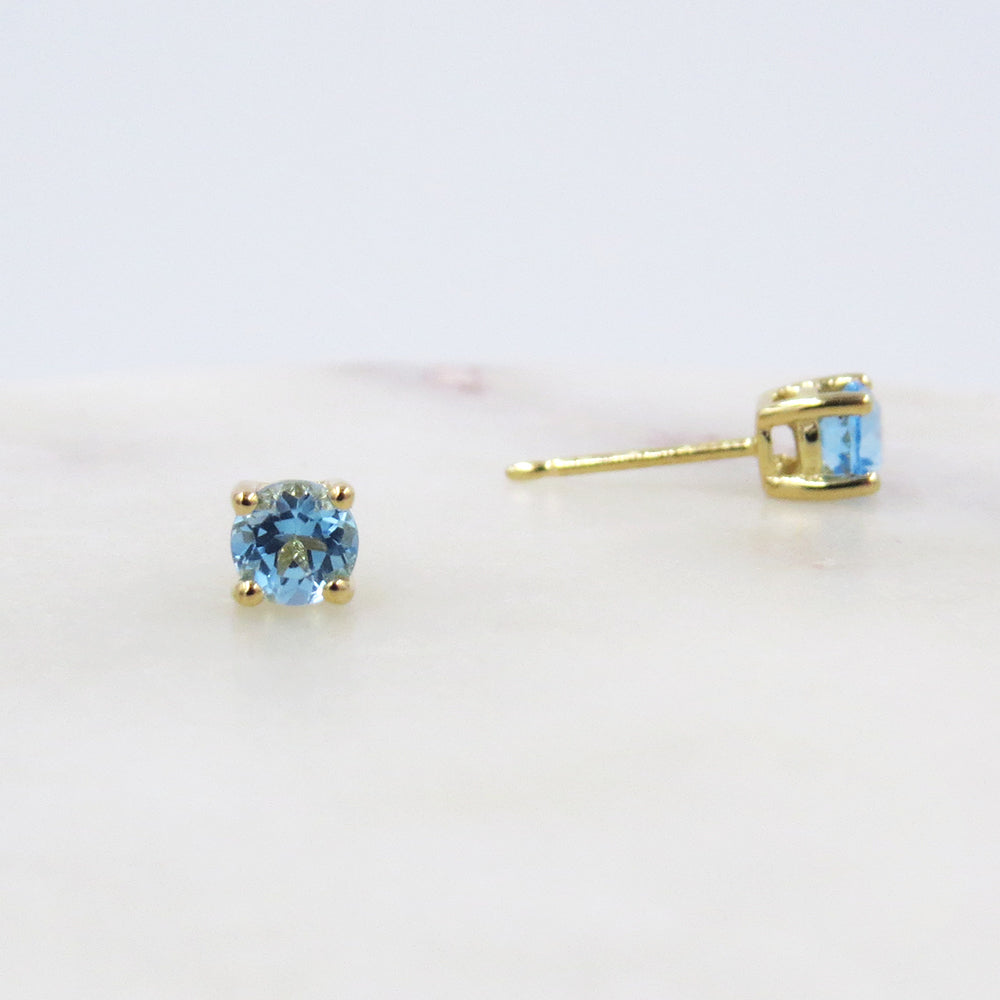 4MM SWISS BLUE TOPAZ POST EARRINGS