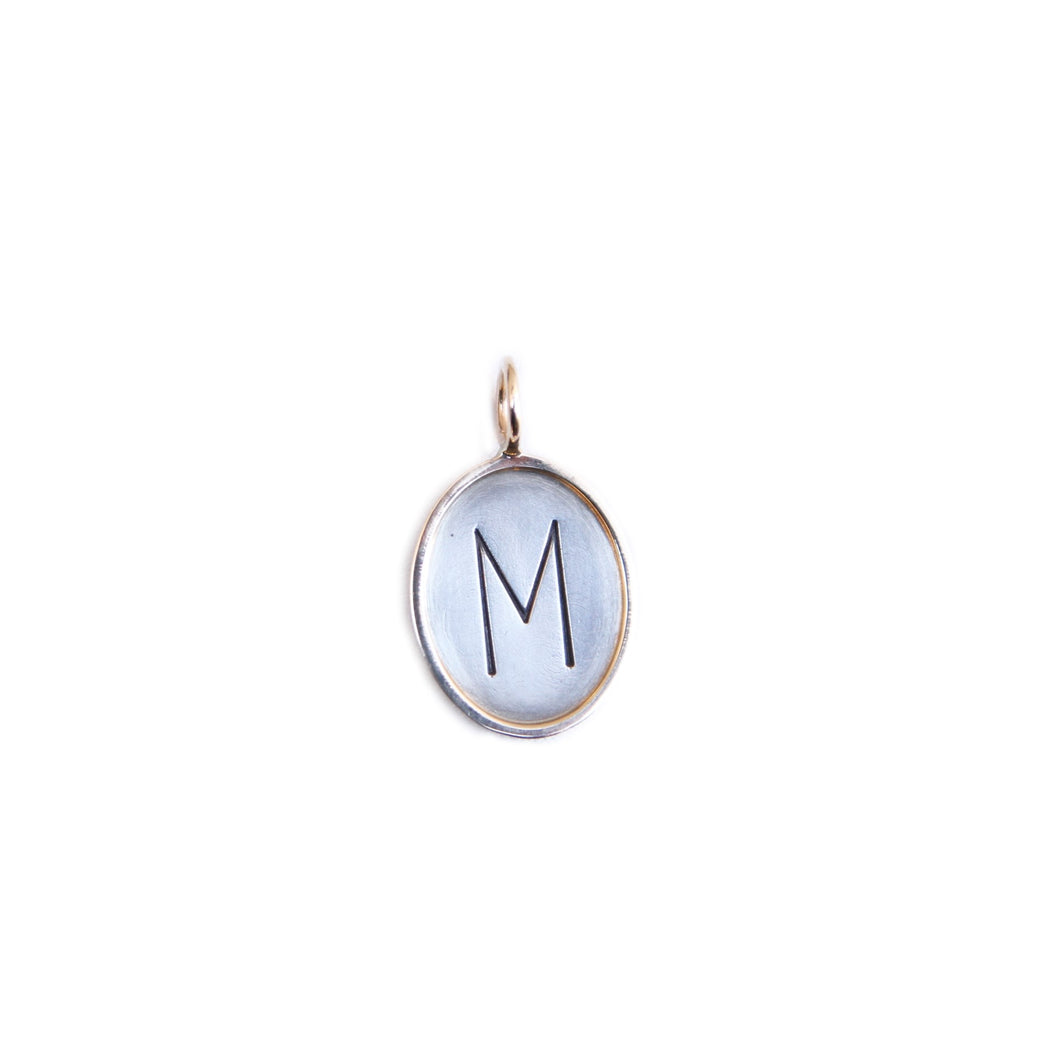 "HEATHER B. MOORE STERLING SILVER 14K GOLD FRAMED OVAL CHARM ""M"""