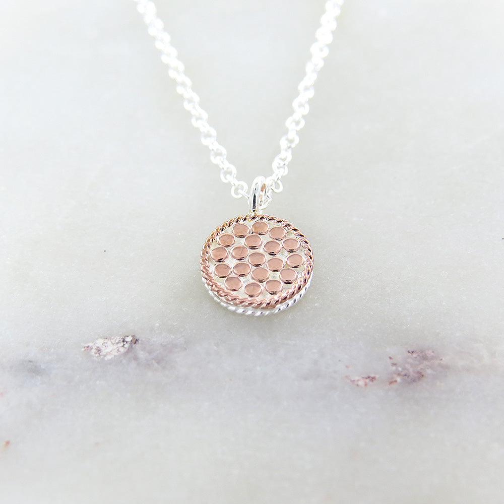 MINI ROSE GOLD CIRCLE REVERSABLE NECKLACE