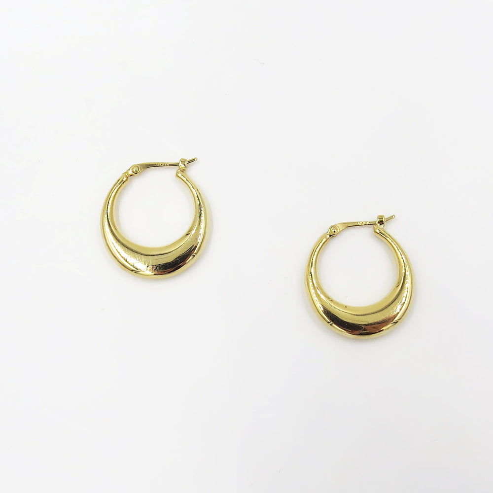 14K SMALL POLISHED HOOP
