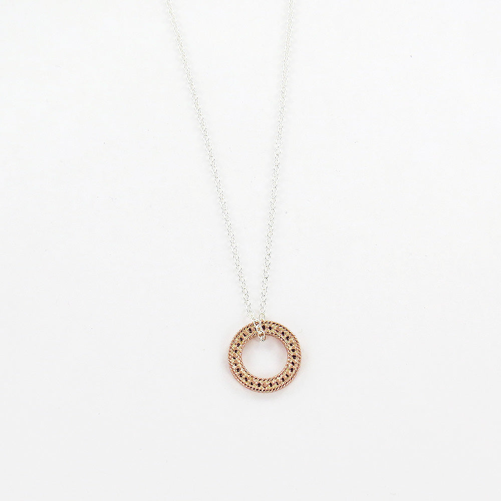 "CIRCLE OF LIFE  OPEN ""O"" CHARITY NECKLACE IN ROSE"