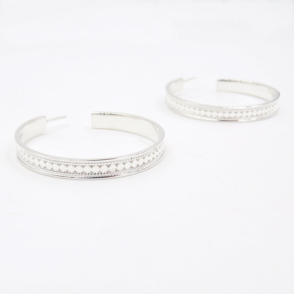 SILVER LARGE HOOP EARRINGS