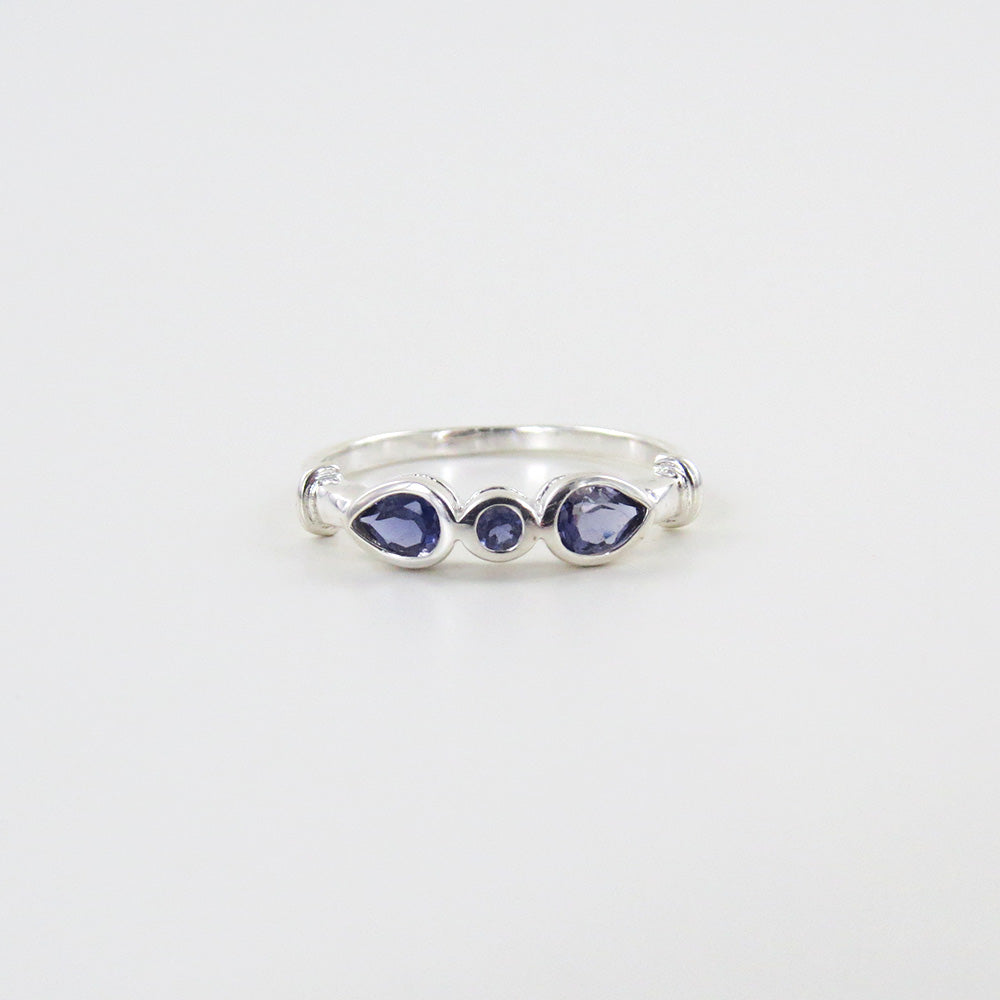 STERLING SILVER RING THREE IOLITE RING