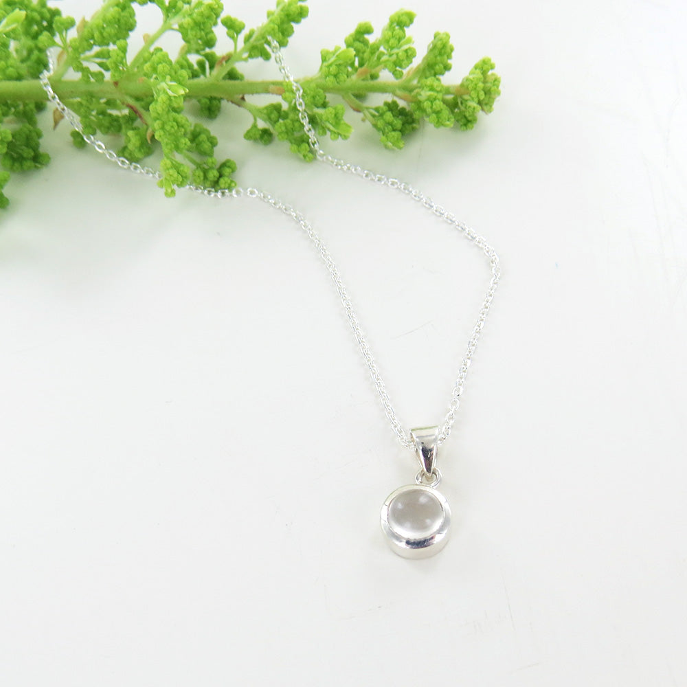 6.5 MM MOONSTONE BEZEL SET PENDANT