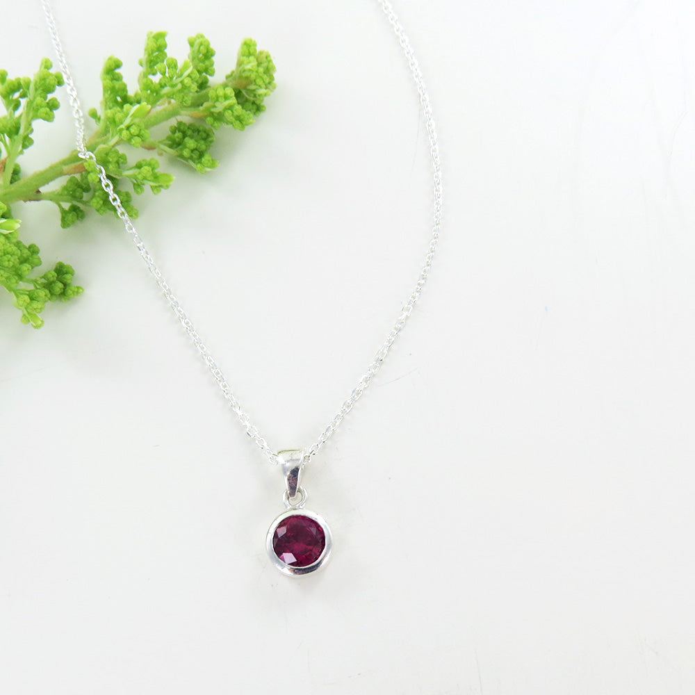 Synthetic Ruby Dot Pendant