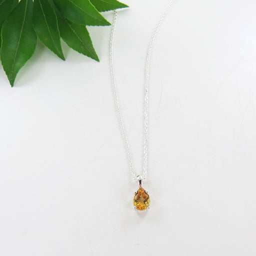 8x5MM PRONG SET PEAR SHAPED CITRINE PENDANT