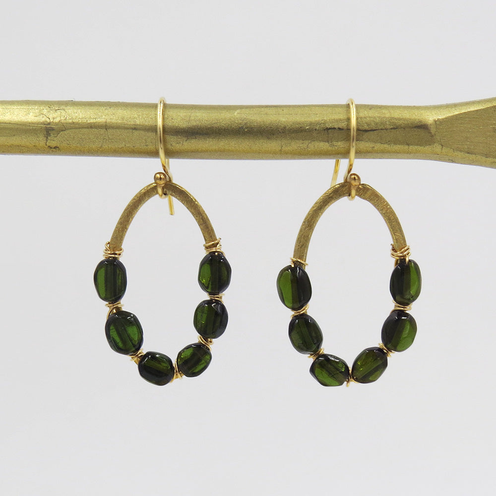 GOLD HOOP TOURMALINE WRAPPED EARRING