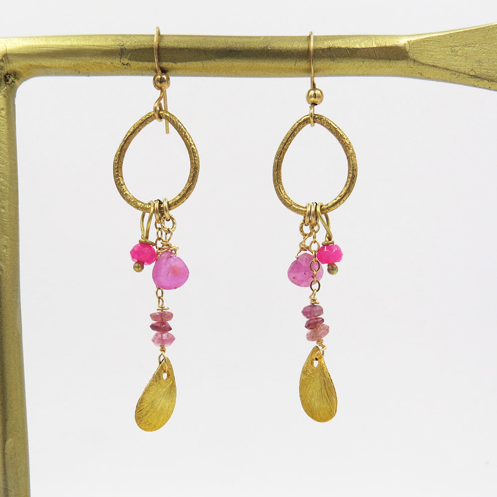 GOLD LOOPS PINK STONE CLUSTER EARRINGS