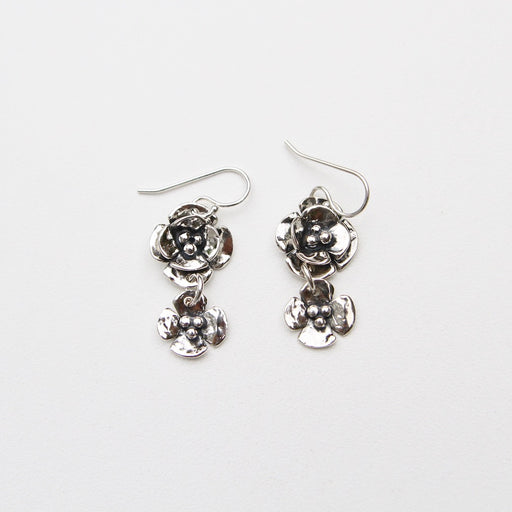Sterling Silver Small Double Dogwood Drop Earring