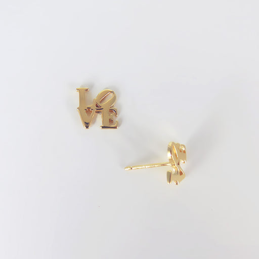 POLISHED VERMEIL LOVE SCULPTURE STUD