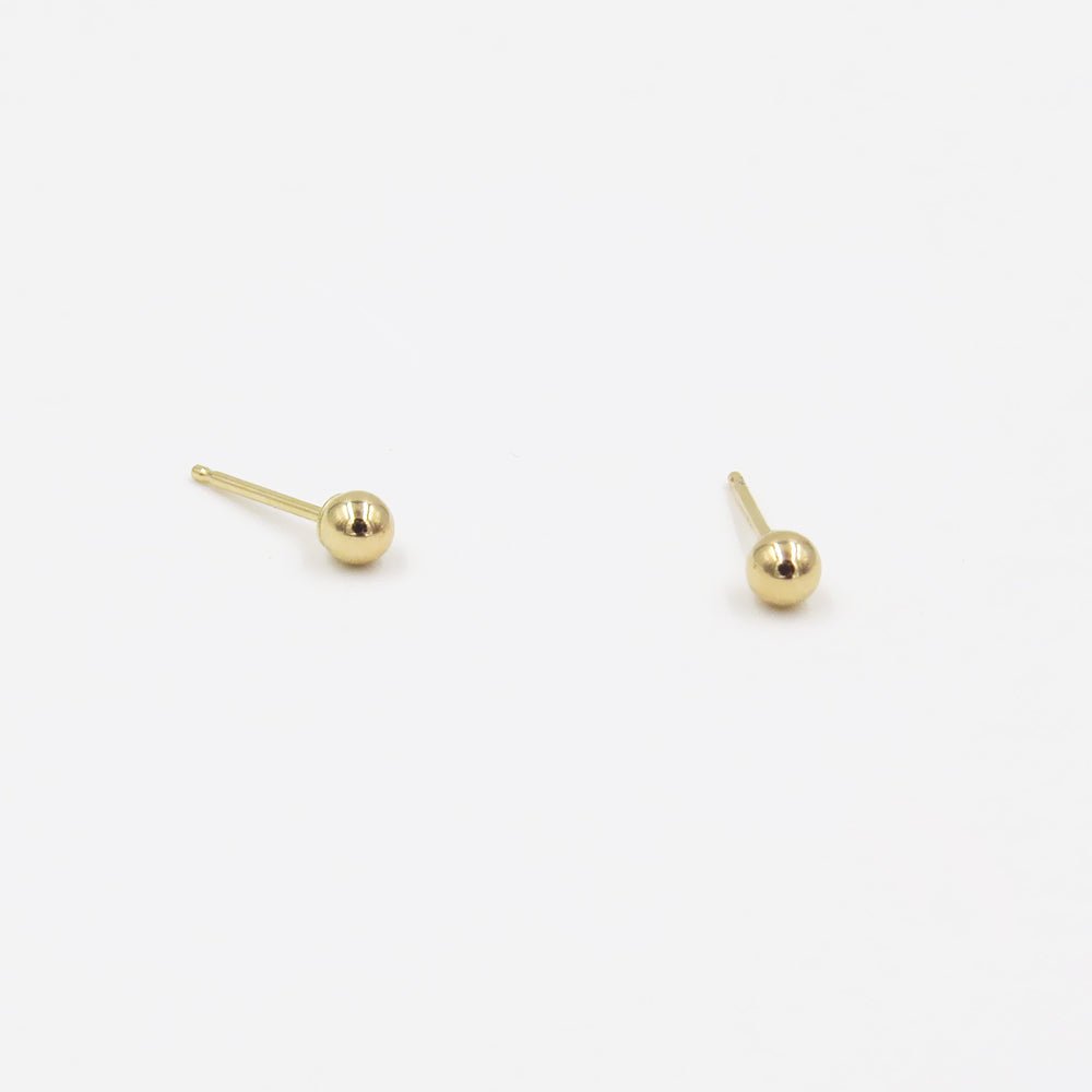 14K TINY GOLD BALL POST EARRINGS
