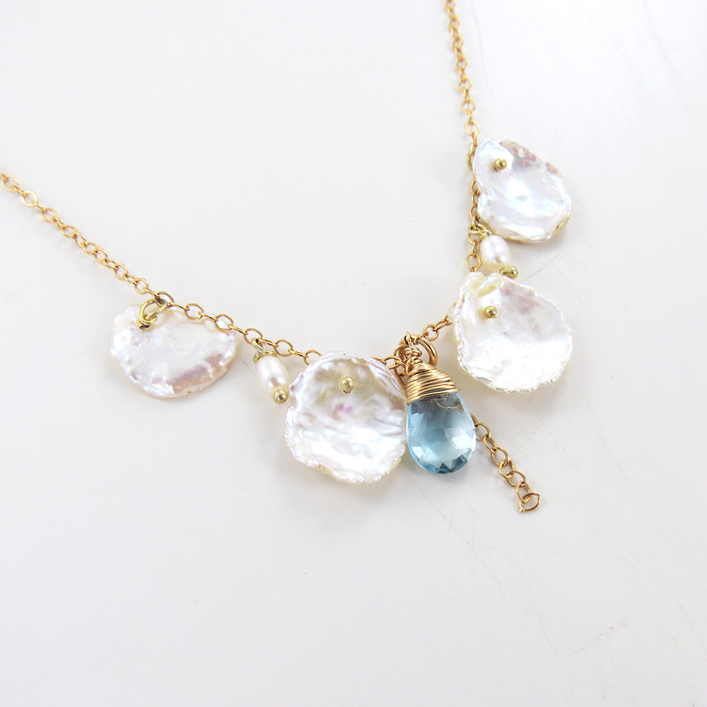 PEARL, KESHI PEARL, & BLUE TOPAZ DROPS NECKLACE