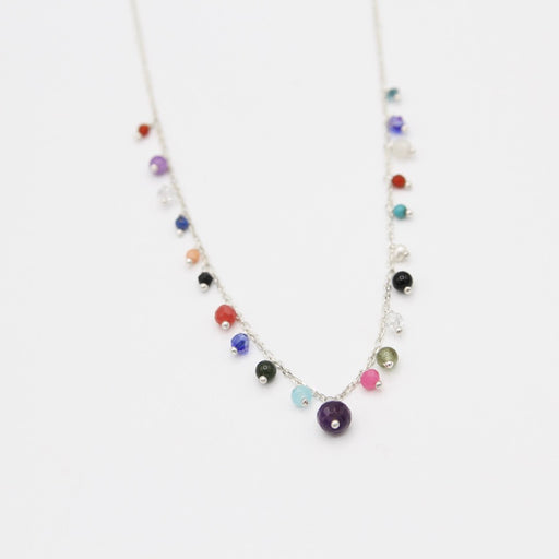 Sterling Silver Chain With Mixed Stones