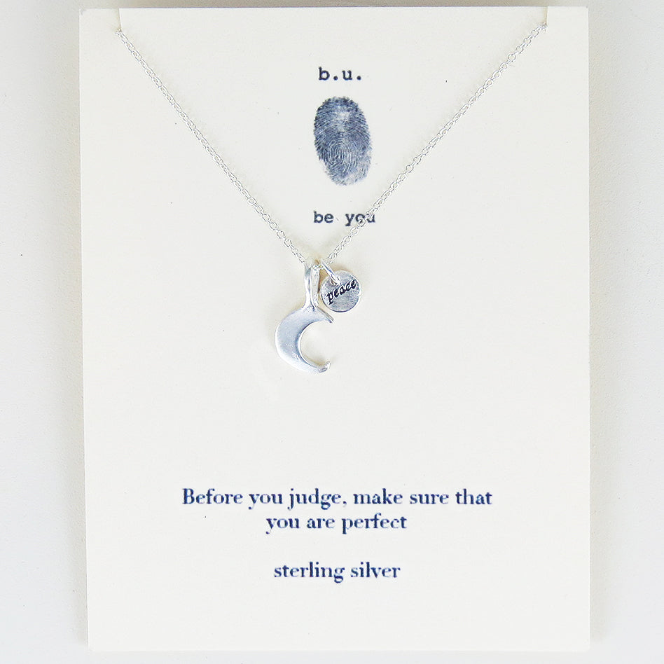 meaningful sterling silver charm necklace, Before you judge, make sure that you are perfect.