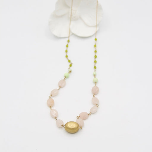 Pink and Green Agate on Gold Filled Chain