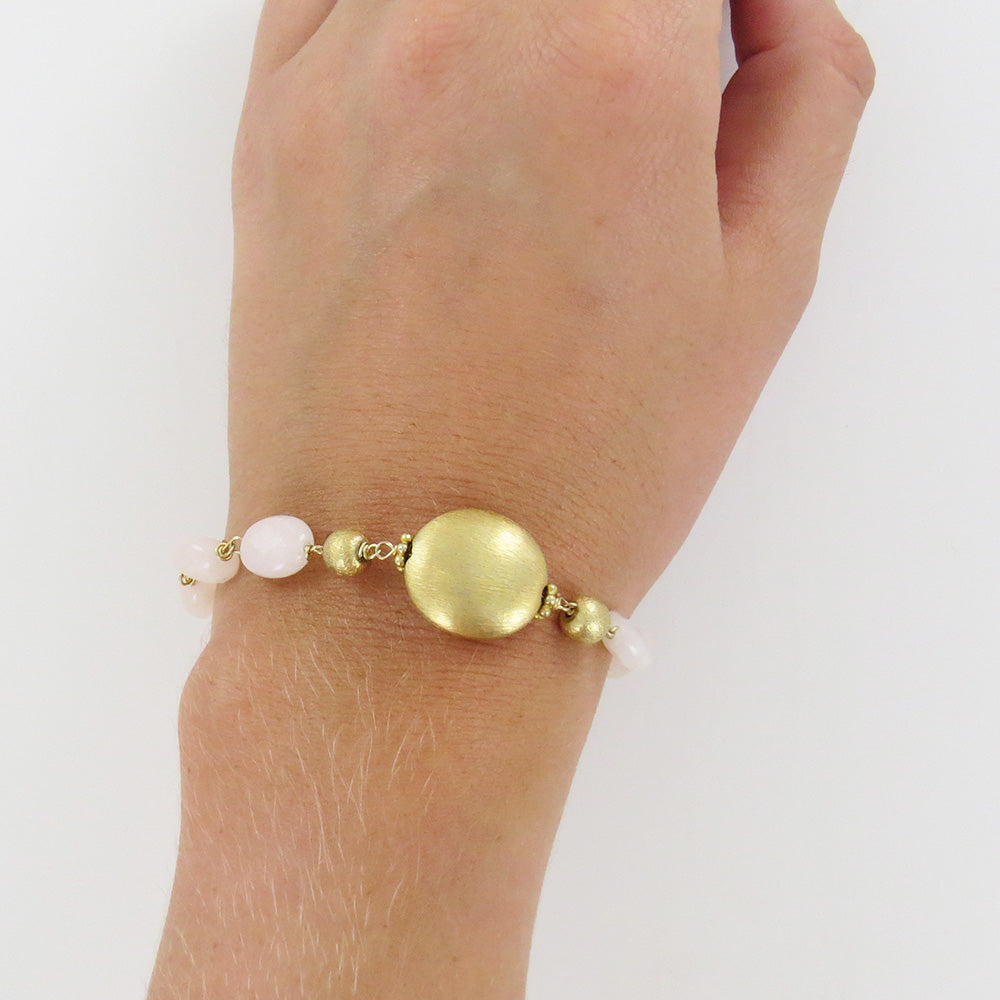 GOLD FILLED BEAD WITH DYED PINK JADE