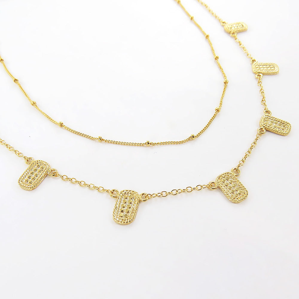 MULTI-BAR CHARM AND SATELLITE CHAIN DOUBLE NECKLAC