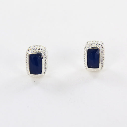 SAPPHIRE BAR STUD EARRINGS IN SILVER