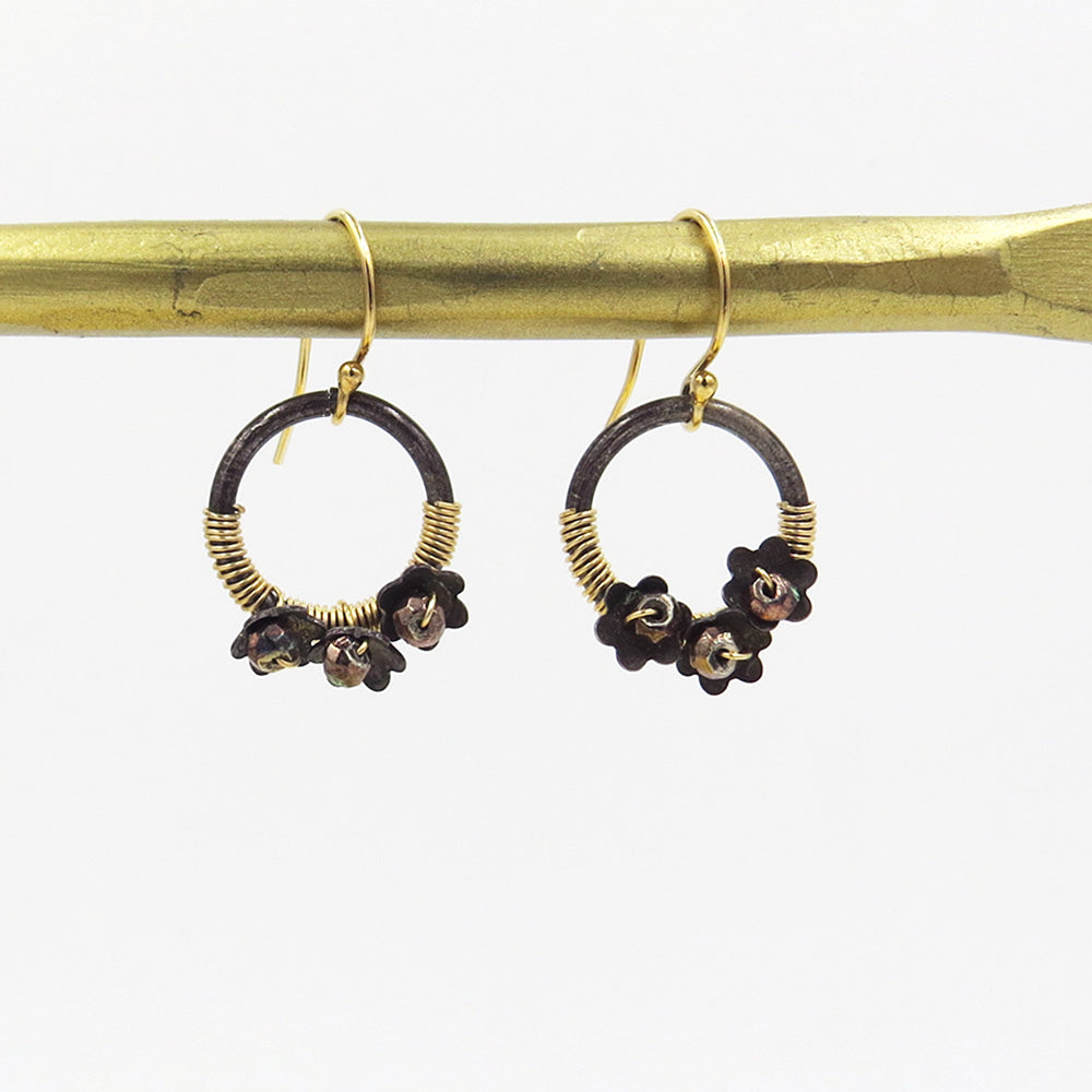 GOLD WRAPPED HOOP WITH TINY FLOWER EARRINGS