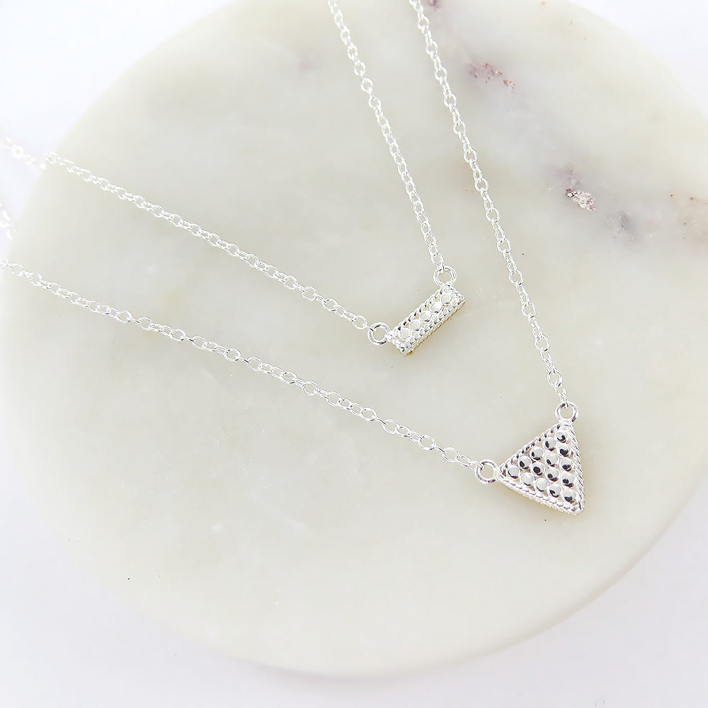 PETITE BAR AND TRIANGLE DOUBLE REVERSABLE NECKLACE