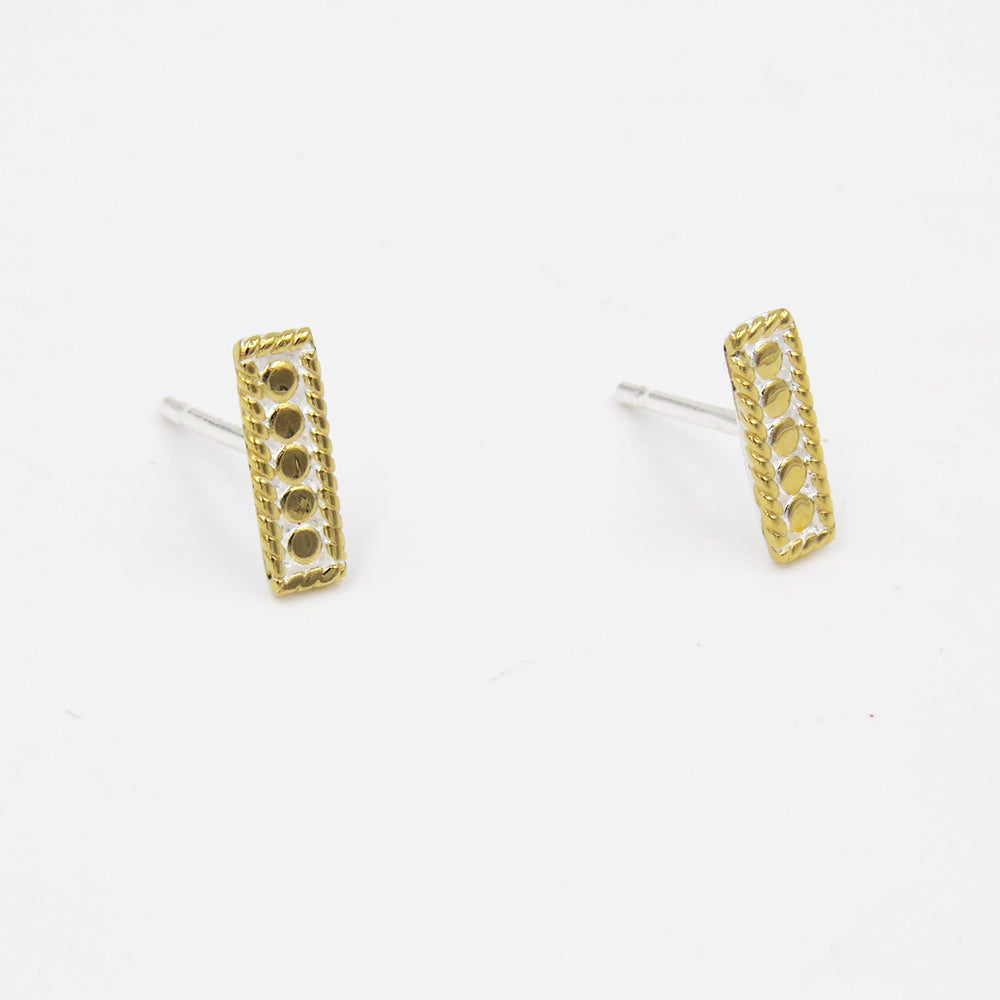 GOLD PETITE BAR STUD EARRINGS
