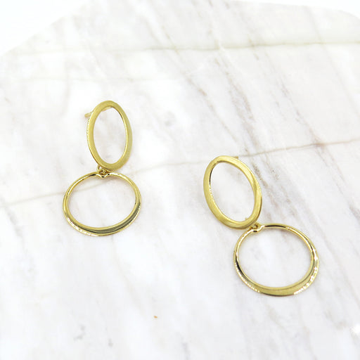 ASYMMETRICAL CIRCLE DROP EARRINGS