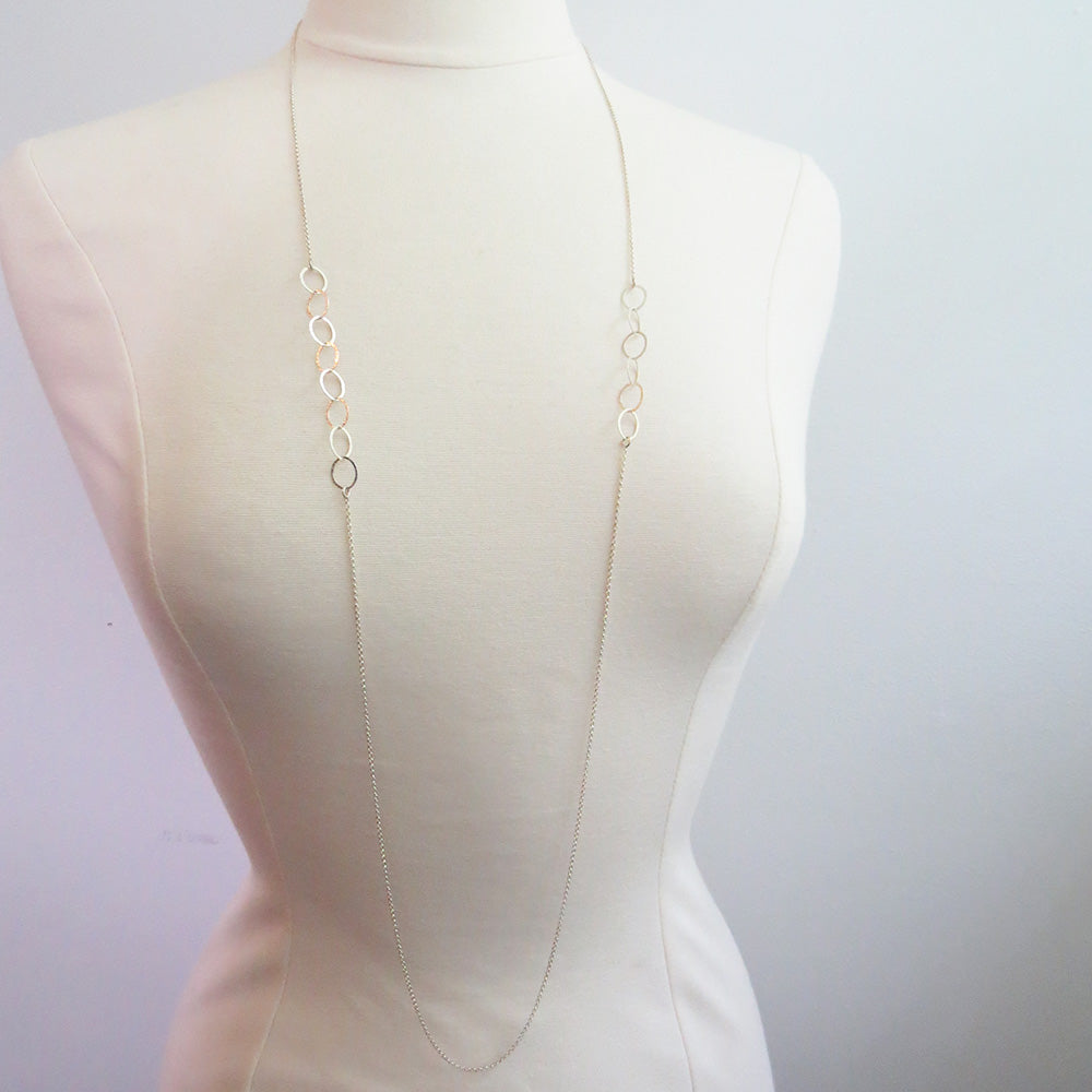 LONG LOOPED SILVER NECKLACE