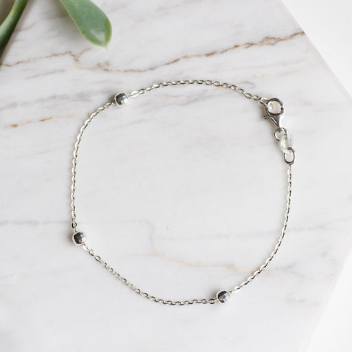Sterling Silver Bracelet with Disco Ball Stations