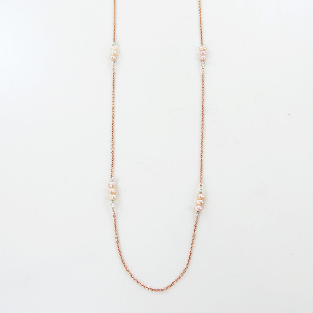 ROSE GOLD CHAIN FT MICRO PINK FRESHWATER PEARL STATION NECKLACE
