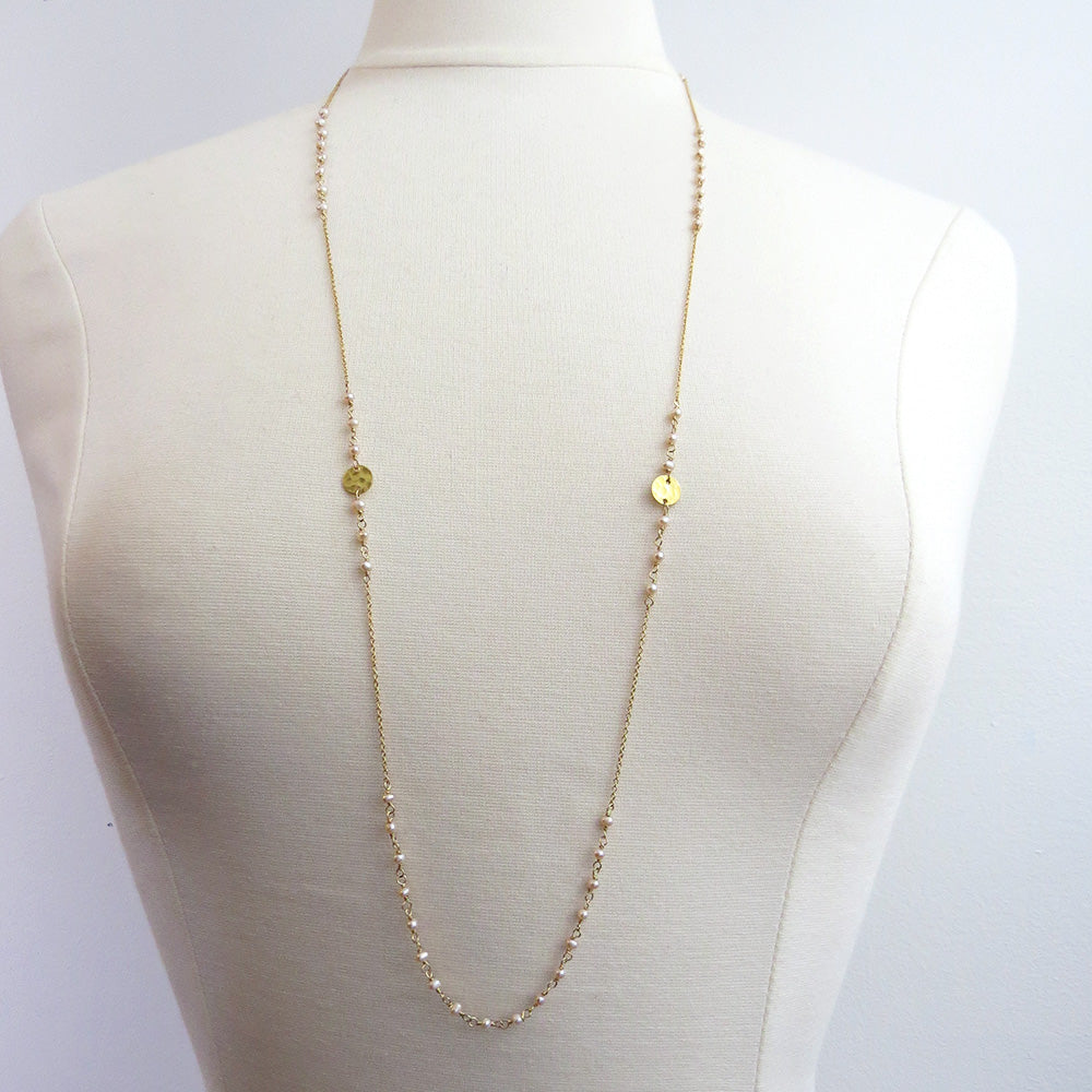 PINK MICRO FRESHWATER PEARLS COIN STATIONS LONG NECKLACE
