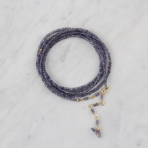 iolite wrap bracelet and iolite long necklace