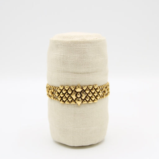 Narrow Antique Gold Diamond Shape Mesh Bracelet