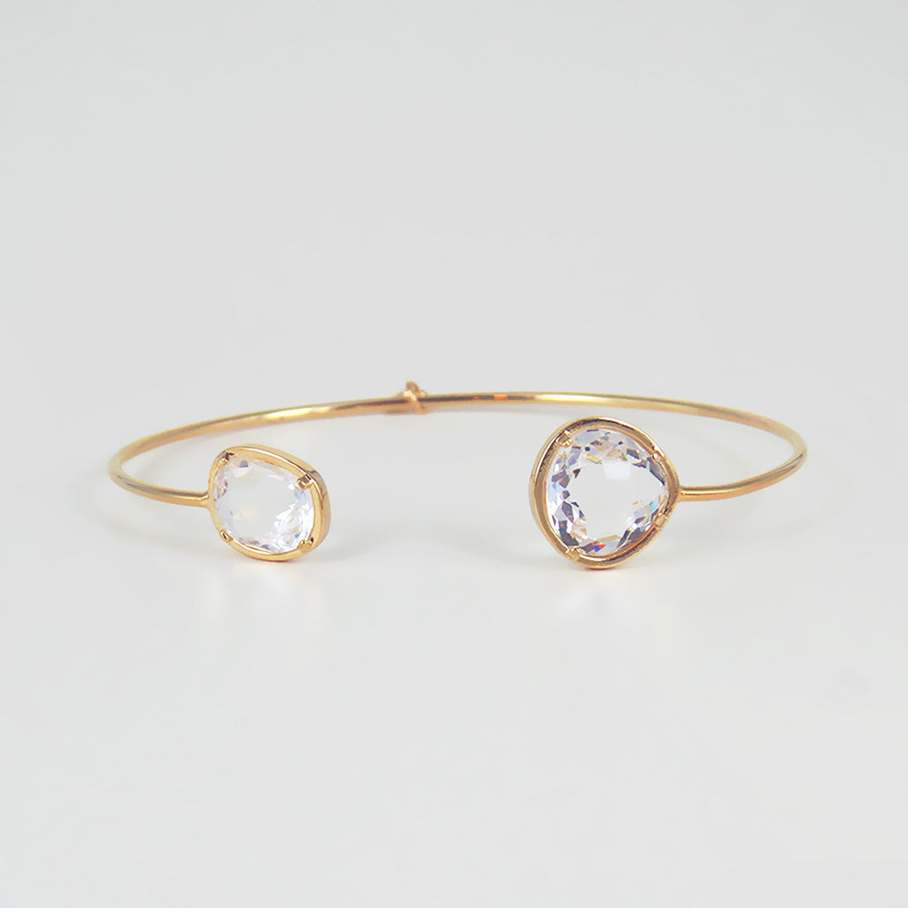 IRREGULAR CLEAR SPLIT CUFF BRACELET