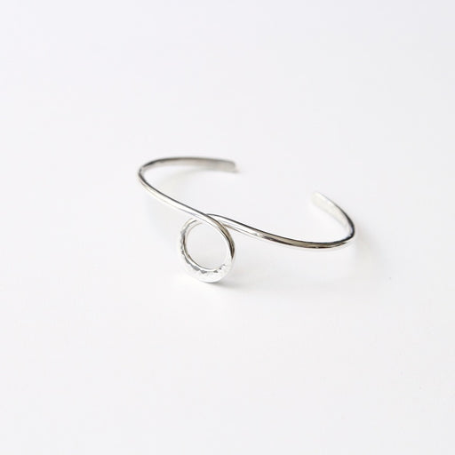 Thin Hammered Cuff With Center Circle Loop