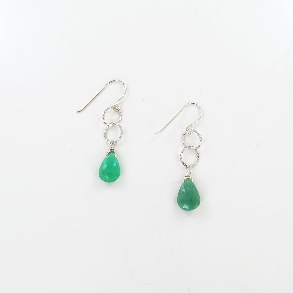 DOUBLE LOOP AND CHRYSOPHRASE EARRINGS