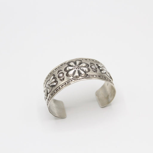 Wide Matte Silver Cuff with Flower by Jason Livingston