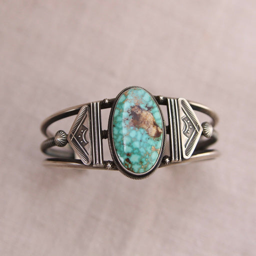 GREEN STONE MOUNTAIN TURQUOISE CUFF BY FREDDIE MALONEY