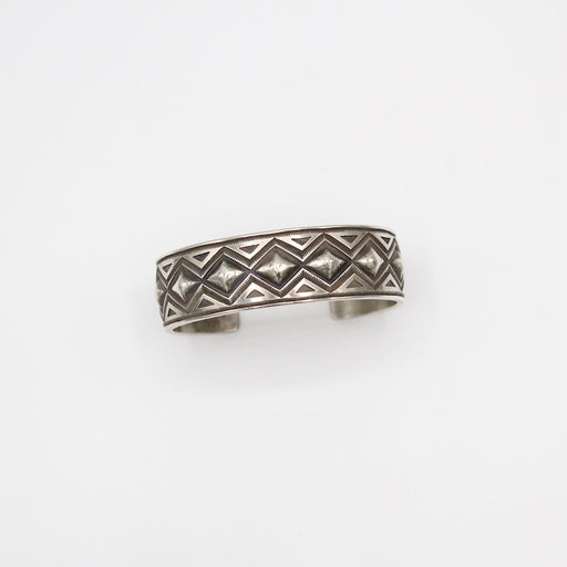 Sterling Silver Stamped Diamond Cuff by Calvin Martinez