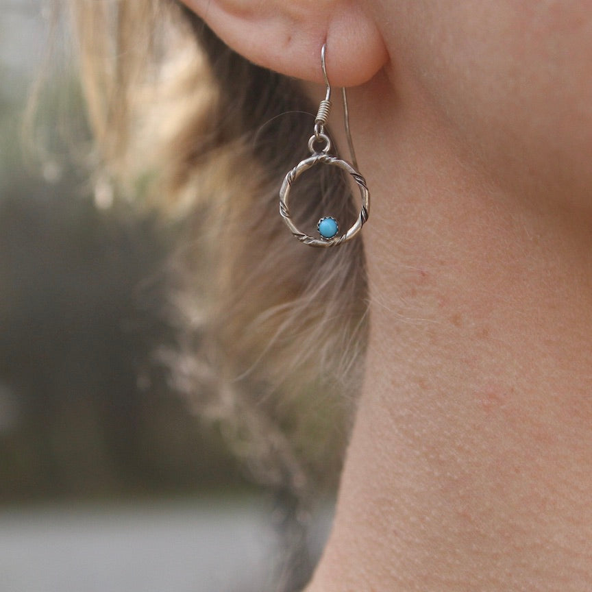 CIRCLE EARRINGS WITH TURQUOISE BY CAROLINE TSOSIE