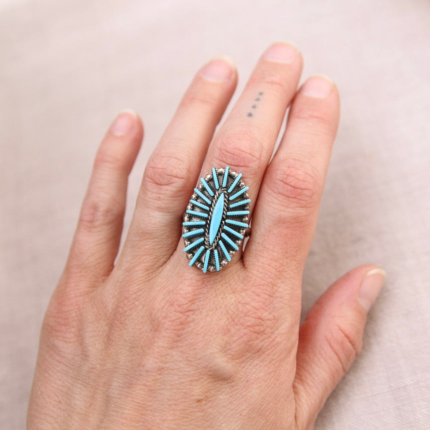 NEEDLE POINT TURQUOISE RING BY CARLA LACONSELLO