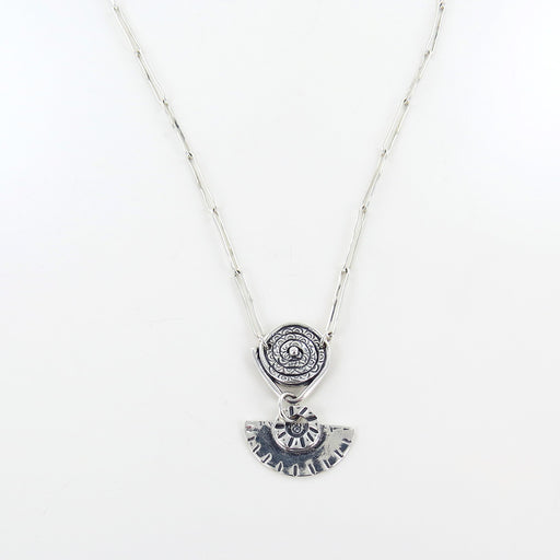 SILVER SWIRL AND HALFMOON NECKLACE