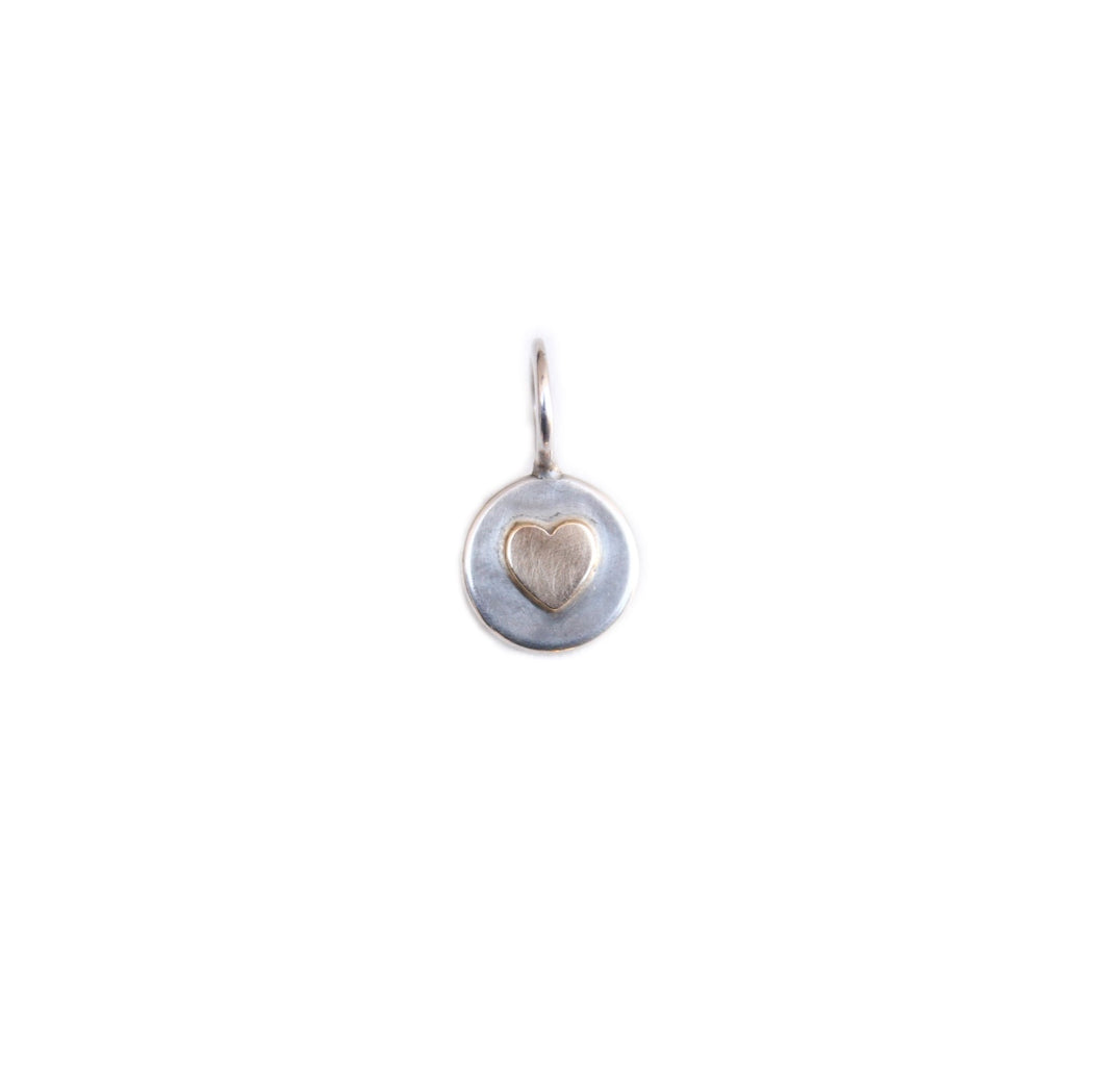 HEATHER B. MOORE STERLING SILVER ROUND CHARM WITH 14K HEART