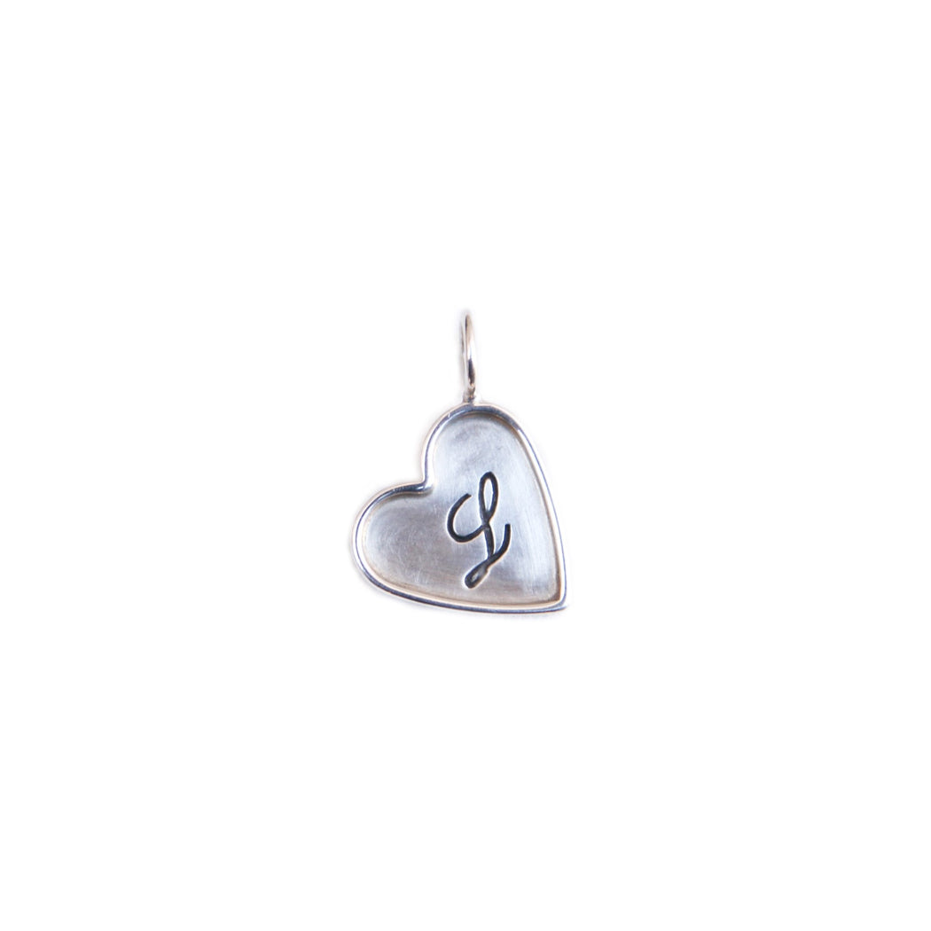 "HEATHER B. MOORE STERLING SILVER FRAMED HEART CHARM ""L"""