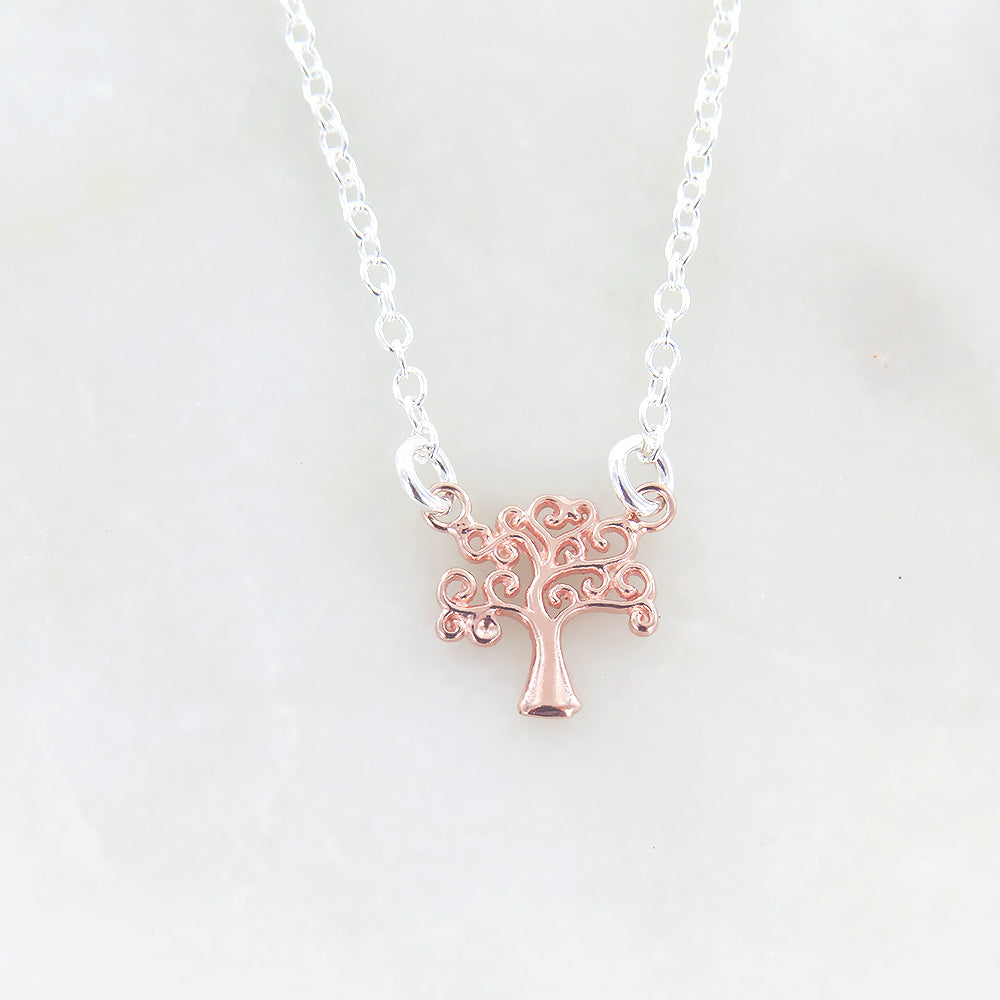 ROSE GOLD TREE OF LIFE PENDANT NECKLACE