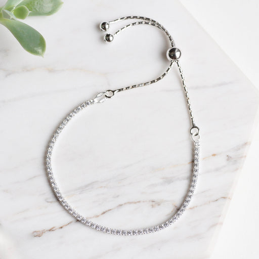 Sterling Silver CZ Bracelet with Sliding Bead Closure